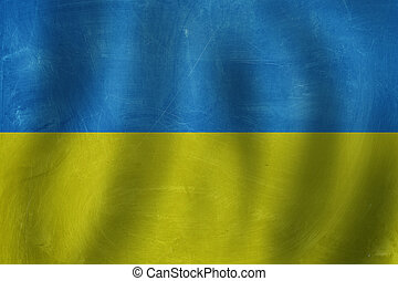 Old Ukrainian flag BAckground with shadow and sunlight.