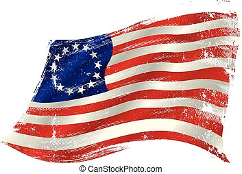 Old union grunge flag in the win - flag of Betsy Ross in the...
