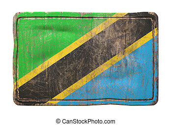 3d rendering of a United Republic of Tanzania flag over a rusty metallic plate. Isolated on white background.