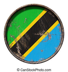 3d rendering of an United Republic of Tanzania flag over a rusty metallic plate. Isolated on white background.