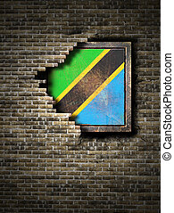 3d rendering of an United Republic of Tanzania flag over a rusty metallic plate embedded on an old brick wall