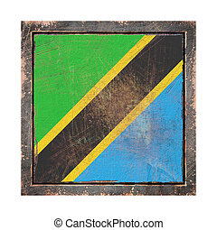 United Republic of Tanzania flag over a rusty metallic plate wit a rusty frame. Isolated on white background.