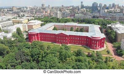 Old university campus aerial drone view Taras Shevchenko National University of Kiev Ukraine founded in 1834