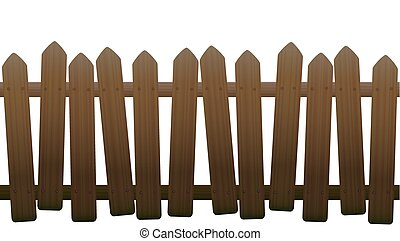 Old Unsteady Crooked Wooden Fence - Old, unsteady, crooked...