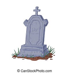 Old upright gravestone with Christian cross. Vintage tombstone of ancient grave. Cracked headstone of tomb. Hand-drawn vector illustration of stone burial monument isolated on white background