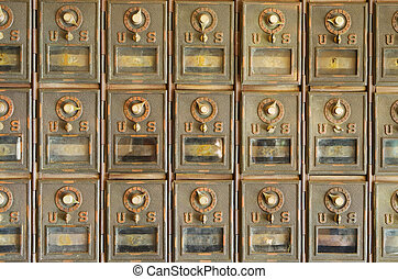 Old US Mailboxes - old brass US mail pigeonhole mailboxes...