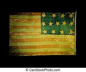 Old USA flag on black background