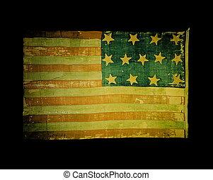 Old USA flag on black background