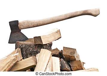 old used ax with fog on the white