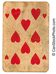 Background of red playing hearts card