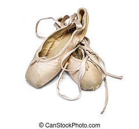 Old used ballet shoes