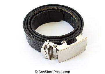 old used black leather belt isolated on white background