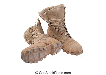 old used desert boots afghanistan war period isolated