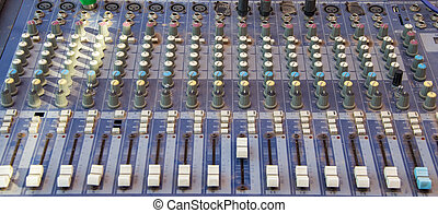 Old used electronic sound control panel