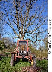 old used retro tractor in farm