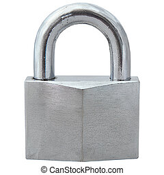old used silver lock isolated on white background