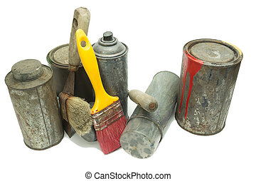 Old used spray cans and paint bucket