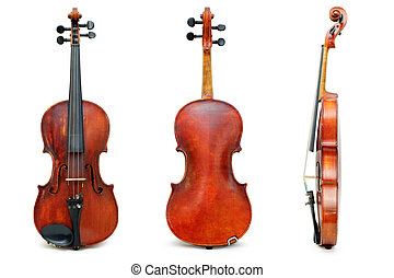 Old used violin example view for passport isolated on white background