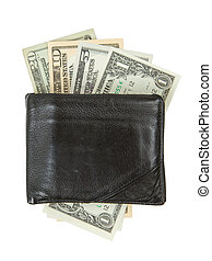 Old used wallet with dollars