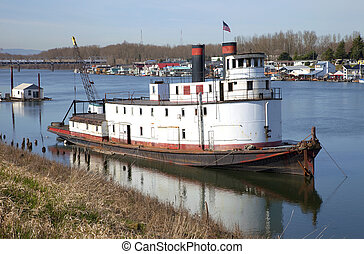 Old utility ship, Portland OR. - Old utility ship on a river...