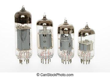 Old vacuum tubes on white background