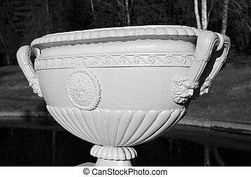 Old vase. Black and white.