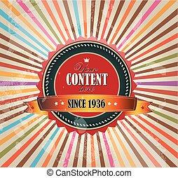 Old vector round retro vintage grunge label