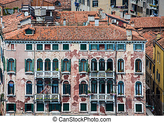 Old Venice Building with Peeling Plaster