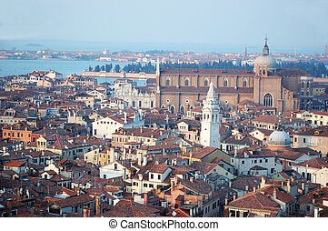 Old Venice cityscape - view from St Mark's Campanile,Italy