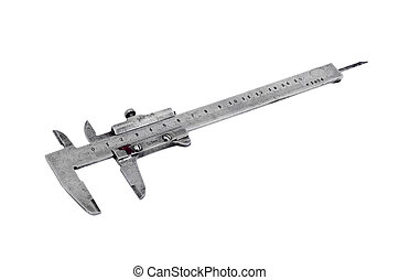 Old vernier caliper, isolated on white background
