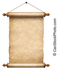 old vertical paper scroll hanging on rope isolated