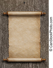 old vertical paper scroll hanging on wood wall