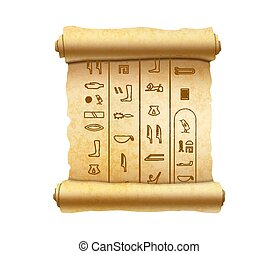 Old vertical textured papyrus scroll with ancient egypt hieroglyphics on white