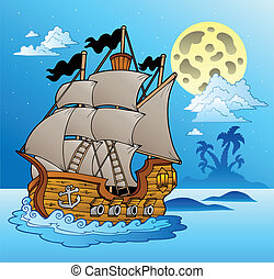 Old vessel in night seascape - vector illustration.
