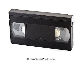 Old VHS cassette in white