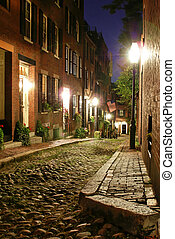 old victorian boston - night time image of an old 19th ...