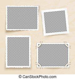 Old victorian image frames. Vintage photo borders vector set