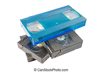 old video cassette on white background