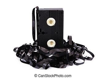 video cassette tape on white background