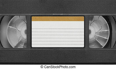old Video Cassette tape with blank label. Top view