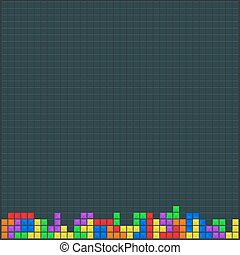 Old video game square template. Brick game pieces. Vector illustration.