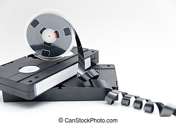 old video tape on white background