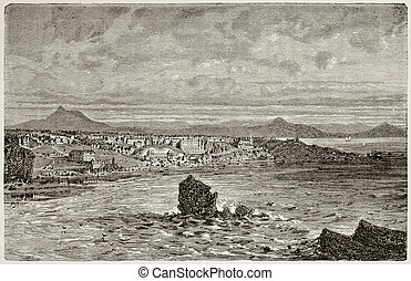 Biarritz - Old view of a coastal city beach: Biarritz,...