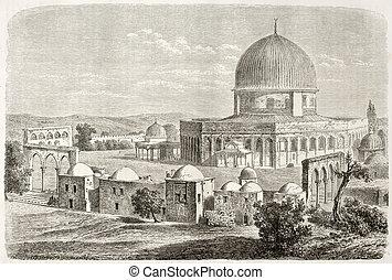 Old view of Al-Aqsa Mosquee, Jerusalem. Created by Lancelot after photo of unknown author, published on Le Tour du Monde, Paris, 1860