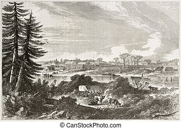 Victoria - Old view of Victoria, on the Vancouver island, ...