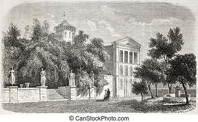 Villa Sardou - Old view of Villa Sardou, Cannes. Engraved...