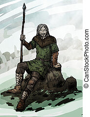 Old viking sitting on a rock