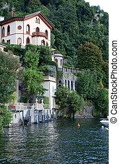 Old villa at lake Como near the village of Torno, Italy