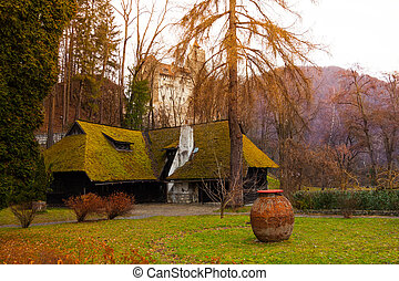 Old village house and Bran Castle, Romania