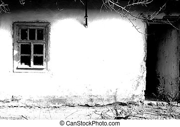 Old village house. Photo in old age style.